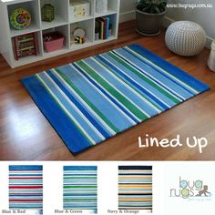 Classic striped floor rugs for boys.  Our Lined Up Kids Rug comes in three different colour options of red & blue, green & blue, and orange & navy.  A great way to freshen up a room with a classic children's rug!  Perfect for baby's nursery, child's bedroom and playroom.  A super durable and plush construction provide a lovely and safe play environment in your little boy's special places.