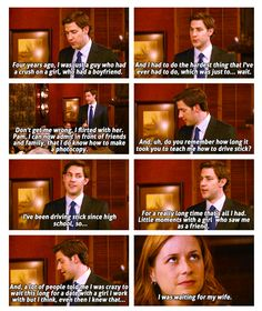 I love the office. I want to marry a guy like Jim. :) Jim and Pam Office Quotes, Office Memes, Fandoms Unite, Wedding Quotes, Wedding Humor, Tv Quotes, Movie Quotes, Girl Quotes, The Office Show