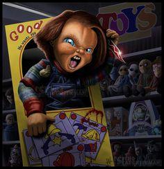 Child's Play by =PsychoSlaughterman on deviantART (Chucky) Horror Icons, Horror Films, Horror Art, Horror Cartoon, Horror Villains, Horror Movie Characters, Creepy Clown, Creepy Dolls, Childs Play Chucky
