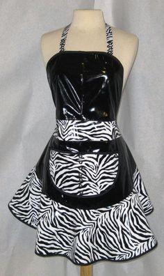 Zebra and black vinyl hair apron