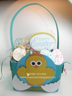 Stampin' Up! Punch Art Maria Sanchez Easter Basket Chick Scallop Envelope