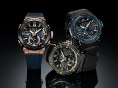 with Carbon Fiber Bezel & Rose Gold G Shock Watches, Casio G Shock, Watch Fan, Amazing Watches, Blue Accents, Carbon Fiber, Bluetooth, Rose Gold, Crystals