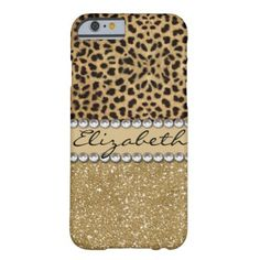Leopard Spot Gold Glitter Rhinestone PHOTO PRINT Barely There iPhone 6 Case This design is made with brown leopard spots and a gold glitter that sparkles on the bottom. The center is left for personalization / personalize surrounded with white diamond rhinestones. (Photo Printed) #glitter #bling #glamour #brown #color #diamonds #wild #cat #pattern #trend #personalize #leopard #pattern #rhinestone #monogram #irony #designs #fashion...