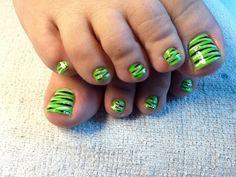 Lime green zebra nail design by Tish