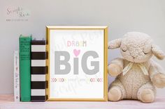 Printable Quote Art -- sign -- Dream big little one // girl // pink // yellow // gray // nursery // child // kid by ScriptandRose on Etsy https://www.etsy.com/listing/199139414/printable-quote-art-sign-dream-big