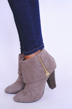 Taupe Fold Over Bootie - Dottie Couture Boutique