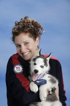 Lindsey Jacobellis (Snowboarding) |   U.S. Olympians Posing With A Siberian Husky Puppy Is The Cutest Thing You'll See Today