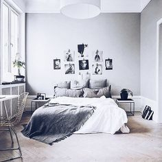 Grey, White bedroom