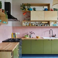 Funky Kitchen, Kitchen Colors, New Kitchen, Natural Kitchen, Modern Retro Kitchen, Small Modern Kitchens, Warm Kitchen, Kitchen Tiles Design, Kitchen Small