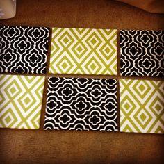 Canvas + Printed Fabric+ Hot Glue = easy decor