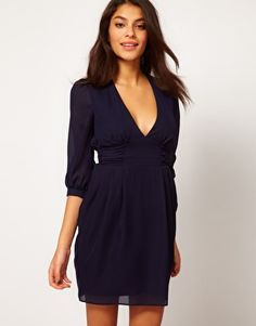 Could be great with the right accessories..only $30.  ASOS Tulip Dress With Ruched Waistband