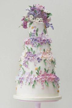 Purple wedding floral wedding cake