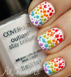 rainbow gradient dotticure covergirl glosstinis nail art COVERGIRL Outlast Glosstinis for Summer 2013 Swatches & Review