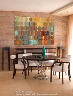 Mark Lawrence's modern abstract fine art is celebrated for his use of vibrant blended colors, painted shapes, and abstract eye-popping patterns. His unique, signature-style handcrafted geometric desig Banquette, Small Dining, Dining Room Design, Abstract Wall Art, Modern Interior Design, Interior Ideas, Oeuvre D'art, Decoration, Room Decor