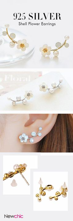 925 Sterling Silver Leaves Shell Flower Earrings