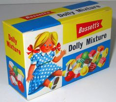 Bassett's Dolly Mixture shop box c1950s.  Our Doctor used to give us a Dolly Mixture sweet after our vaccinations, so I have mixed feelings about them...