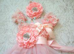 Flower girl dressPrincess Tiara Pink Chiffon Lace by HappyBOWtique