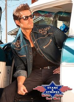 Corbeto's Boots   50-DEREK   Camisa tejana estilo western Stars & Stripes para hombre. Mens western style embroidered denim shirt.