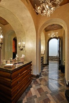 "tuscan design Arch With Mirror sinks each sidelike rightside shown;/small arch ""center"" with Shower Entry: non visible = thought process"
