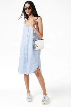 Monki Image 2 of Striped dress in Blue