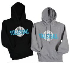 Volleyball Hoodie  Teal Volleyball by BADSportz1 on Etsy