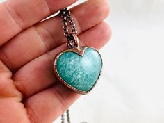 Excited to share this item from my #etsy shop: Amazonite heart pendant necklace, copper necklace, electroformed jewelry, crystal fashion, heart necklace, turquoise heart