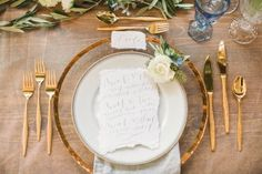 These hand-torn place cards feature calligrapher Danica Butler's romantic lettering. | Photo by Lauren Gabrielle Photography