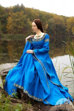 "Blue Dress ""Lady of the Lake"" medieval dress; linen dress; ice blue dress; cobalt blue dress (289.00 USD) by armstreet"