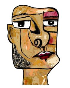 This painting is absolutely gorgeous! It has a real Basquiat feel to it and it is cubist means urban at its finest! Such amazing talent! Cubist Portraits, Cubist Paintings, Human Head, Cubism, Picasso, Art Education, Art Lessons, Amazing Art, Knives