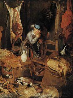 Pieter Cornelisz van Ryck - Küchenbild (Teilansicht) (1604) - Öl auf Leinwand - 189x288 cm - Herzog Anton-Ulrich-Museum, Braunschweig Art And Illustration, Baroque Painting, Stoner Art, Kitchen Art, Museum, Cow, Fish, Cartoon, 18th Century