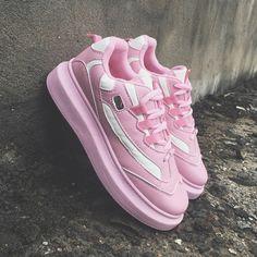 BABY PINK KOREAN STYLE PLATFORM SNEAKERS - Thumbnail 1 Pink Sneakers 867b83a0b