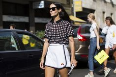 Gilda Ambrosio outside D&G at Milan FW SS2015