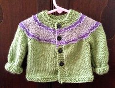 Sweater made for Charlie using concentric stripe cardigan from www.innerchildcrochet.com