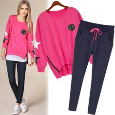 Women new fashion 2014 long sleeve o neck lady suits fashion hoodies women's sports suits big size HD115 $30.70