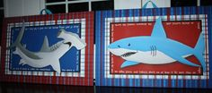 Set of 2 Extra Large Shark 20x30 Stretched Canvases by ToadAndLily