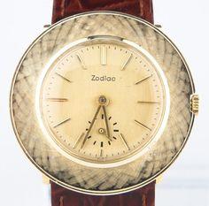 Zodiac Men's 14k Yellow Gold Hand-Winding Watch w/ Burgundy Leather Band #Zodiac #Dress