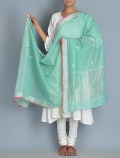 Cyan Chanderi Zari Phool Patti Chikankari Embroidered Dupatta