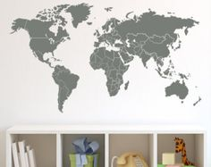 World Map Wall Decal with Countries Borders by Zapoart on Etsy