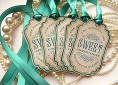 Candy Labels Sweet Confections - Vintage Inspired Teal Ribbon - Buffet Table Decoration, Wedding Favor Tags, Gifts, SET of 5 - CODE S2. $6.25, via Etsy.
