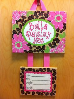 Cheetah PrintHospital Birth Announcement Door by MyClarksCreations, $47.00