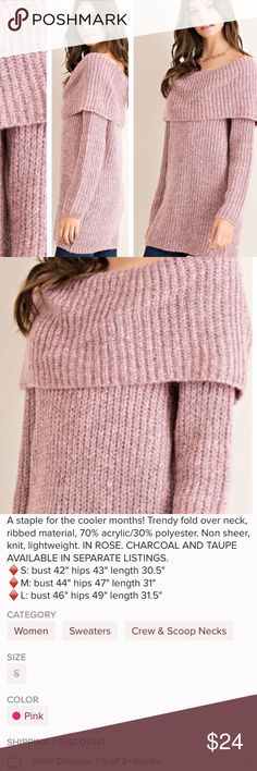 NWOT! Pink Fold Over Chunky Knit Sweater • Small • Reposh from @saundie!💕Brand new, never worn, never tried on! Came without tags. Gorgeous pink/mauve-ish colored fold over sweater! Size small. Fits oversized and comfortable! Could fit a M as well. Nice weight material and very warm. Additional details shown in last pic from original listing. Comes from a smoke-free home. No odors or flaws! Color looks just like stock pics but I can provide more if requested. Please ask any questions before…