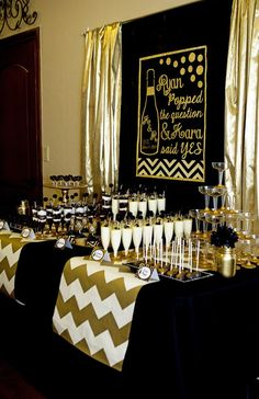 "Black and Gold Bridal Shower ""He Popped the Question"""