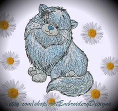"""Persian Cat - Machine Embroidery Dog Designs Set for a Babies and Children of a series """"Old Toy"""""""