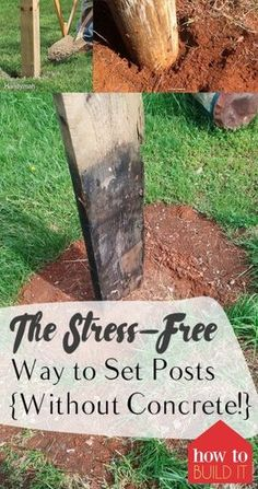 The Stress-Free Way to Set Posts {Without Concrete!} How to Set Posts Setting Posts Without Concrete Home Projects Outdoor DIY Projects Landscaping and Gardening Projects Popular Pin Farm Fence, Diy Fence, Backyard Fences, Backyard Landscaping, Rustic Fence, Wood Pallet Fence, Field Fence, Country Fences, Backyard Pavilion