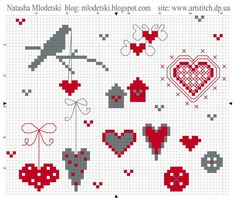 cross stitch in gray and red Modern Cross Stitch Patterns, Cross Stitch Designs, Cross Stitching, Cross Stitch Embroidery, Cross Stitch Heart, Christmas Cross, Le Point, Needlework, Valentine Ideas