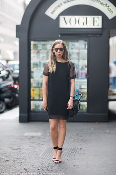 LBD + simple strappy sandals