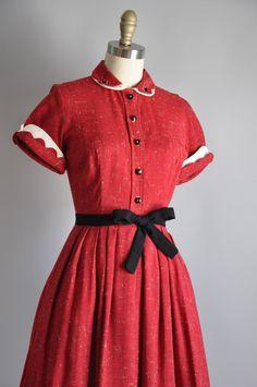 1950s red full skirt dress