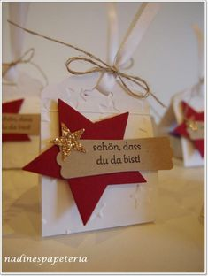 Goodies for Christmas workshop are ready (Nadines Papeteria) - Christmas Origami, Stampin Up Christmas, Christmas Gift Tags, Christmas Crafts, Christmas Goodies, Newspaper Crafts, Quilling Designs, Origami Easy, Stamping Up