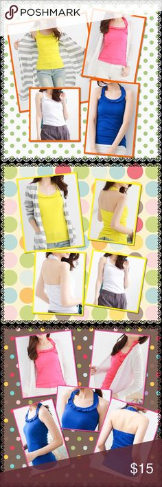Curves collar halter top Brand new in package 65% cotton 35% polyester 4 colors to chose from hot pink, yellow green, white, blue one size fit S toM Please let me know the color you like I'll create new list for youPrice is firm unless you bundle Tops Tank Tops
