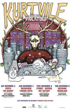 Kurt Vile Australian tour 2011. Artwork by Bjenny Montero
